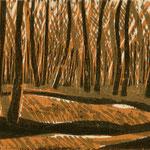 Tanzende Bäume, 2019, Farbholzschnitt, 15x20cm