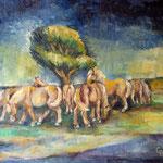 Pferdekoppel, 2011, Öl auf Leinwand,