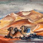 Wüstenschiffe, 2015, Aquarell, 22x30 cm