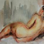Liegender Akt, Aquarell, 29x39cm