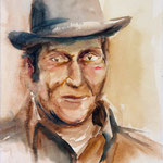 Mann mit Hut, 1988, Aquarell, 30x23cm
