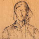 Alte Frau mit Kopftuch I, 1982, Rötel, 35x33cm