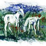 Ziegen, 2011, Monotypie, 21 x 30 cm