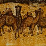 Kamele, 2019, Farbholzschnitt, 45x60cm