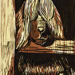 Müder Wächter, 2017, Farbholzschnitt, 26x17 cm