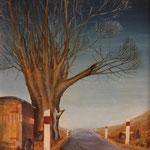 Straßenbaum, 1979, Mischtechnik auf Hartfaser, 48x37cm