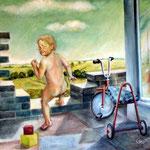 Spielendes Kind, 1984, Öl auf Hartfaser, 52x58cm