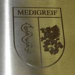 14. Detail Logo-Gravur in V2A vertieft gefräst, noch ohne Farbe