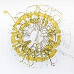feutres, acrylique et fils sur toile, 30 x 30 cm, 2020 | fr 676