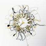 feutres, crayon et fils sur toile, 50 x 50 cm, 2020 | fr 1'222