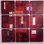 Carrés bordeaux, acrylique sur toile, polyptyque 90 x 90 cm