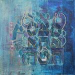 acrylique mixte et fils sur toile, 30 x 30 cm, 2020