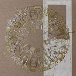 acrylique mixte et fils sur toile, 50 x 50 cm, 2021