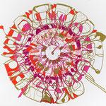 crayon, fils et feutres sur papier, 40 x 40 cm, 2020