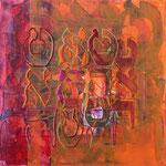 acrylique mixte et fils sur toile, 30 x 30 cm, 2020 | fr 560