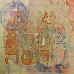 acrylique mixte et fils sur toile, 50 x 50 cm, 2020 | fr 920
