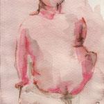 Elle de dos, crayon aquarelle sur papier, 2000
