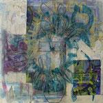 acrylique mixte et fils sur toile, 50 x 50 cm, 2020