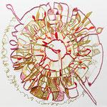 feutres, crayon et fils sur toile, 30 x 30 cm, 2020 | fr 676