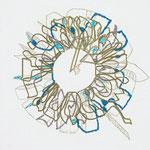 feutres, crayon et fils sur toile, 20 x 20 cm, 2020 | fr 440