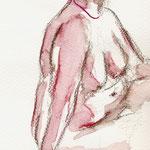 Nu, crayon aquarelle sur papier, 2010