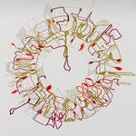 feutres, crayon et fils sur toile, 50 x 50 cm, 2020