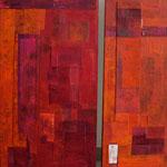 Diptyque rouge, acrylique sur toile, 100 x 100 cm, 2005