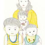 Ma famille タイムスリップした家族の絵。初めて日本へ来た米国人の友人はBigHead!と国際差別を吐いた。相当、驚いたらしい、子どもの頭に…。