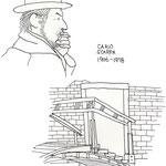 CarloScarpa イタリアの建築家 カルロ・スカルパ オリベッティの本社ビル等を設計。特徴のあるかぎ鼻が印象的で、自画像というより自身で描いた似顔絵が残っています。