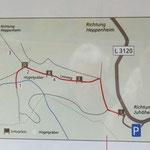 Ausschnitt aus Schautafel: Standorte der Tafeln - Archäologischer Lehrpfad