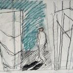 grafiet, conté, papier, grootte (b x h): 60 cm x 50 cm, aluminium wissellijst, oplage:1, prijs: € 250