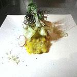 茄子の含め煮と鯛せんべい  西京味噌とクルミのソースがけ