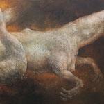 """""""白鯨"""" 130.3×162cm 石膏地着彩"""