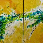 """Spuren I"", Acryl/Lw., 2-teilig, je 90 x 90 cm"