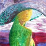 """Blick in den Spiegel"", Acryl/Platte, 63 x 43 cm"