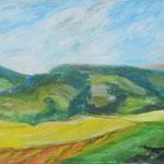 """""""Landschaft um Glödnitz"""", Acryl/Lw., lasiert, 60 x 120 cm"""