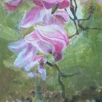 """Blütenkaskade"", Acryl/Lw., 110 x 60 cm"