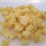 In Würfel geschnittene Kartoffeln