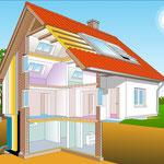 Gebäudeillustration mit Isolierbeschichtung, Computerzeichnung