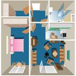 Einblick in den Wohnbereich einer Senioreneinrichtung, Zentralperspektive