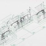 Hydraulischer Kreislauf einer Stampferbohle, Zeichnung für ein technisches Handbuch
