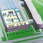 Luftbildzeichnung eines Forschungsinstituts mit Einblick in die Laborräume