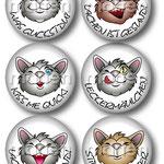 Entwurf einer Buttonserie mit Kätzchenmotiven