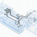 Zeichnung eines Hydraulikkreislaufs in einer Grabenfräse (Techn. Handbuch)