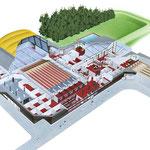 Luftbildzeichnung einer Freizeitanlage mit Einblick in die Räumlichkeiten