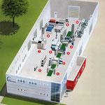 Luftbildzeichnung mit Einblick in die Produktionsräumlichkeiten von MZE