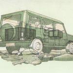 Prospektillustration in Kreide- und Markertechnik
