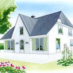 Gebäudeskizze, COPIC_Markerzeichnung für einen Immobilienprospekt