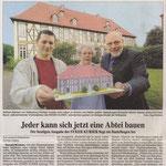 Artikel im Weserkurier anläßlich der Überreichung eines fertigen Papiermodells der Stiftsabtei