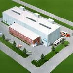 Luftbildillustration eines Firmenareals, Airbruhzeichnung